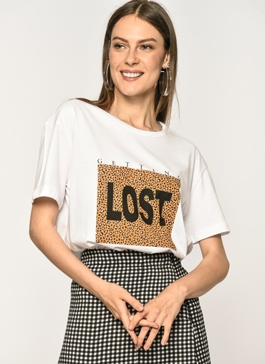 Loves You Leopar Lost Baskılı Cotton T-Shirt Beyaz
